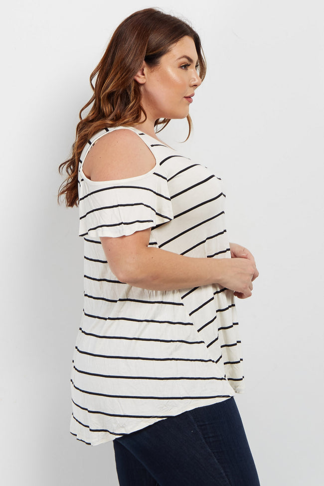 Ivory Striped Cold Shoulder Plus Top