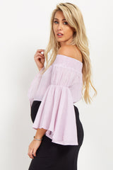 Light Pink Striped Off Shoulder Maternity Crop Top
