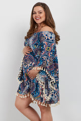 Navy Paisley Tassel Trim Plus Maternity Dress