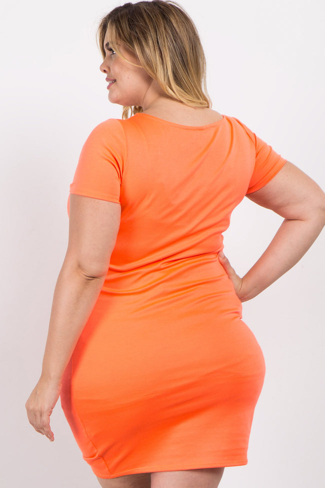 Coral Neon Fitted Plus Maternity Dress