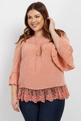 Peach Cold Shoulder Crochet Trim Plus Maternity Blouse