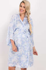 Blue Floral Chiffon Delivery/Nursing Maternity Robe