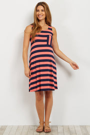 Coral Striped Maternity Tank Dress