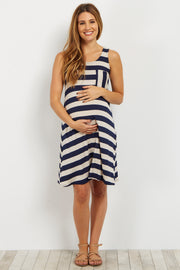 Navy Striped Maternity Tank Dress
