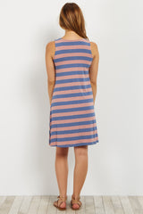 Denim Pink Striped Maternity Tank Dress