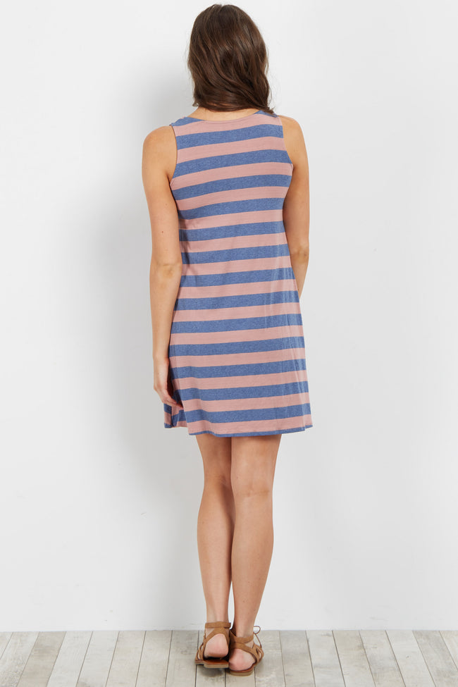 Blue Striped Tank Dress