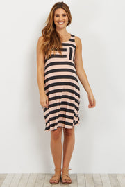 Pink Striped Maternity Tank Dress