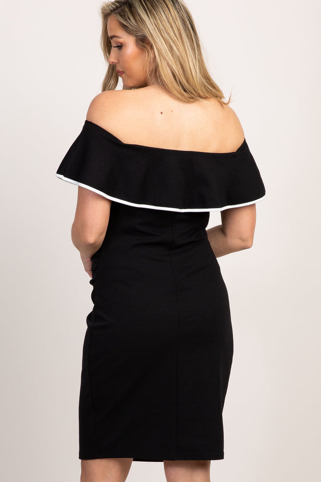 Black Off Shoulder Ruffle Fitted Maternity Dress