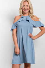 Blue Open Shoulder Ruffle Dress