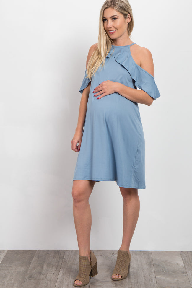 Blue Open Shoulder Ruffle Maternity Dress