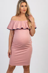 Pink Off Shoulder Ruffle Fitted Maternity Dress