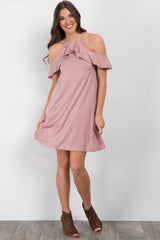 Pink Open Shoulder Ruffle Dress