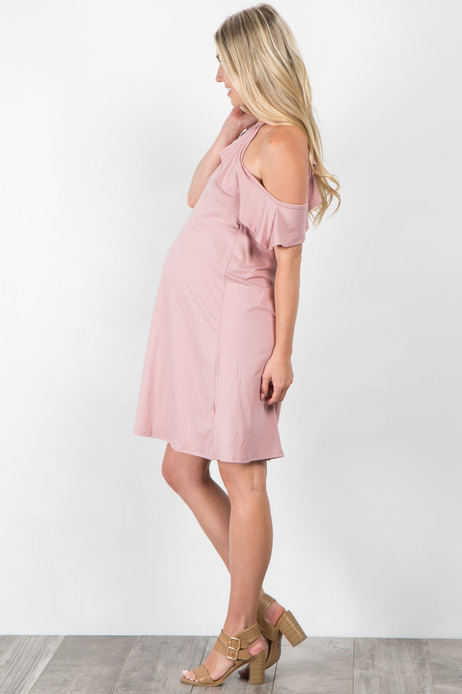 Pink Open Shoulder Ruffle Maternity Dress