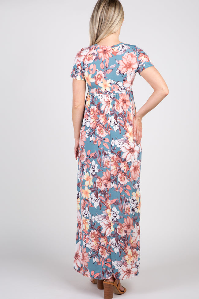 Blue Floral Short Sleeve Maternity Maxi Dress