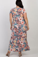 Blue Floral Short Sleeve Plus Maxi Dress
