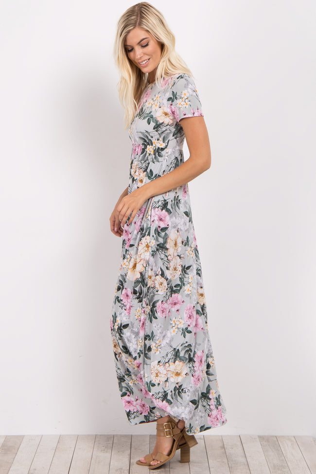 Mint Green Floral Short Sleeve Maxi Dress