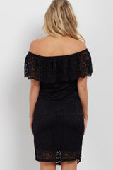 Black Lace Off Shoulder Fitted Maternity Dress