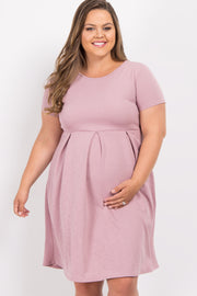 Mauve Basic Pleated Skirt Plus Maternity Dress