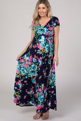 Navy Blue Floral Short Sleeve Wrap Maternity Maxi Dress