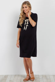 Black Lace-Up Maternity Shift Dress