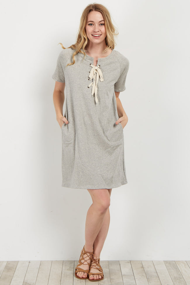 Heather Grey Lace-Up Shift Dress