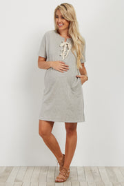 Heather Grey Lace-Up Maternity Shift Dress