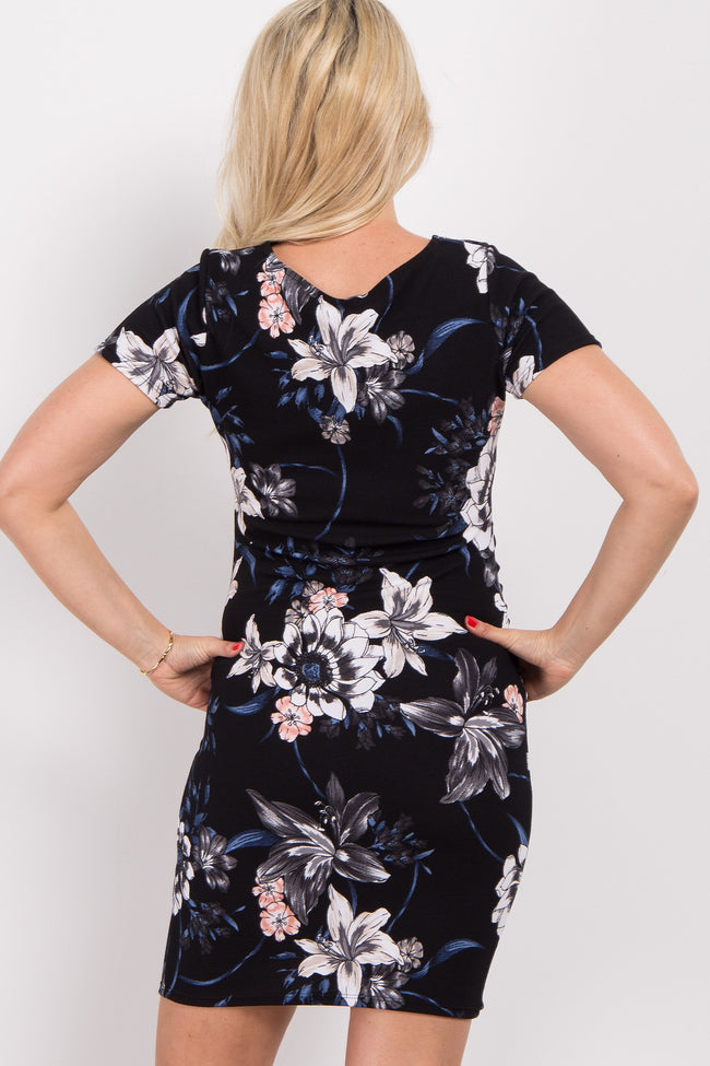 Navy Floral Print Fitted Maternity Dress