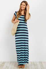 Aqua Striped Maternity Maxi Dress