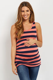Coral Striped Fitted Maternity Tank Top