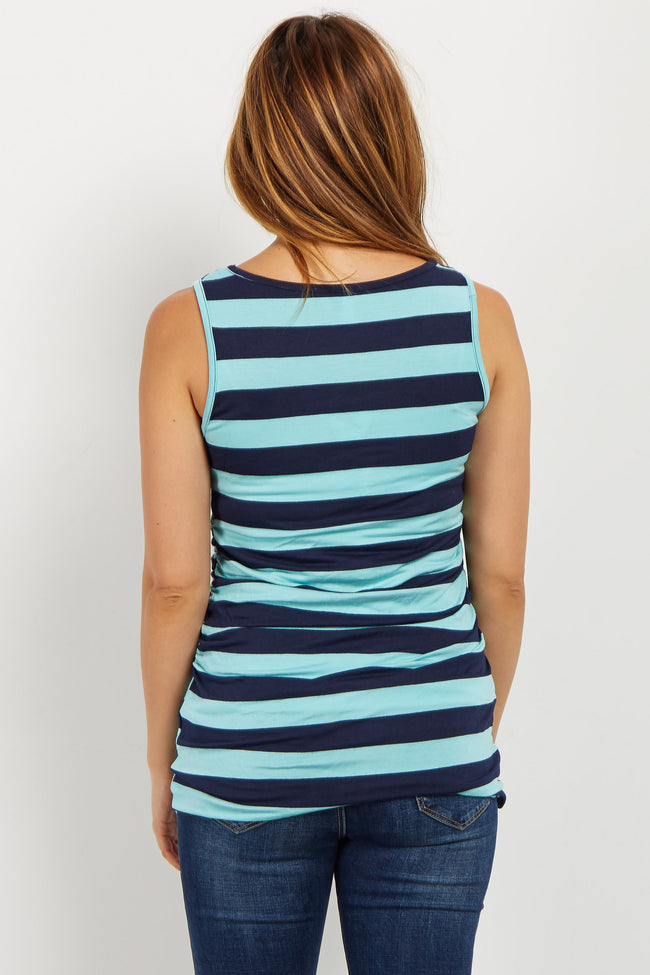 Aqua Striped Fitted Maternity Tank Top