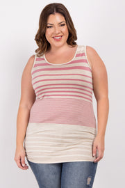 Pink Alternating Striped Plus Tank Top