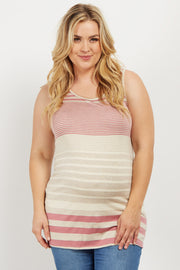 Pink Alternating Striped Plus Maternity Tank Top