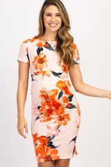 Peach Floral Fitted Maternity Dress