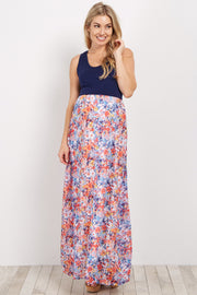 Navy Abstract Floral Bottom Maternity Maxi