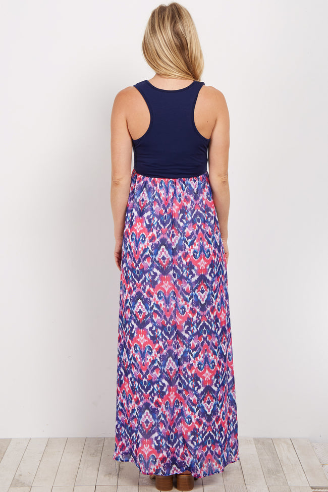 Navy Abstract Printed Bottom Maternity Maxi