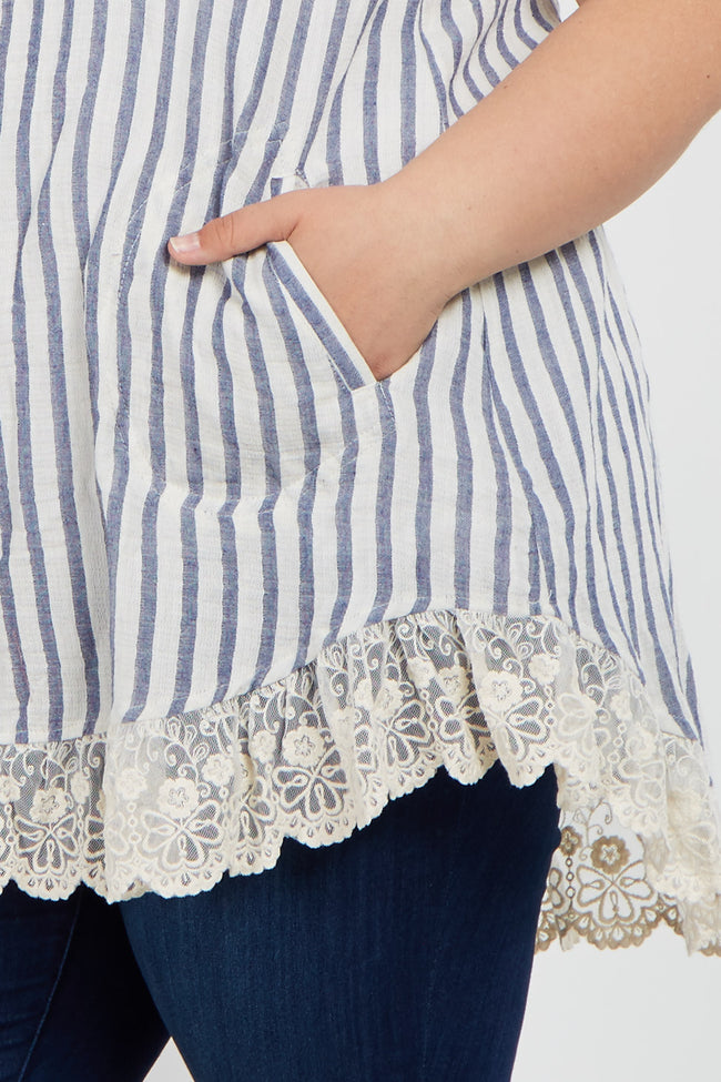 Blue Striped Button Down Crochet Trim Plus Maternity Top