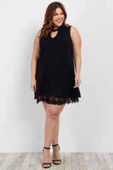 Black Crochet Trim Tie Sleeveless Plus Maternity Dress/Tunic