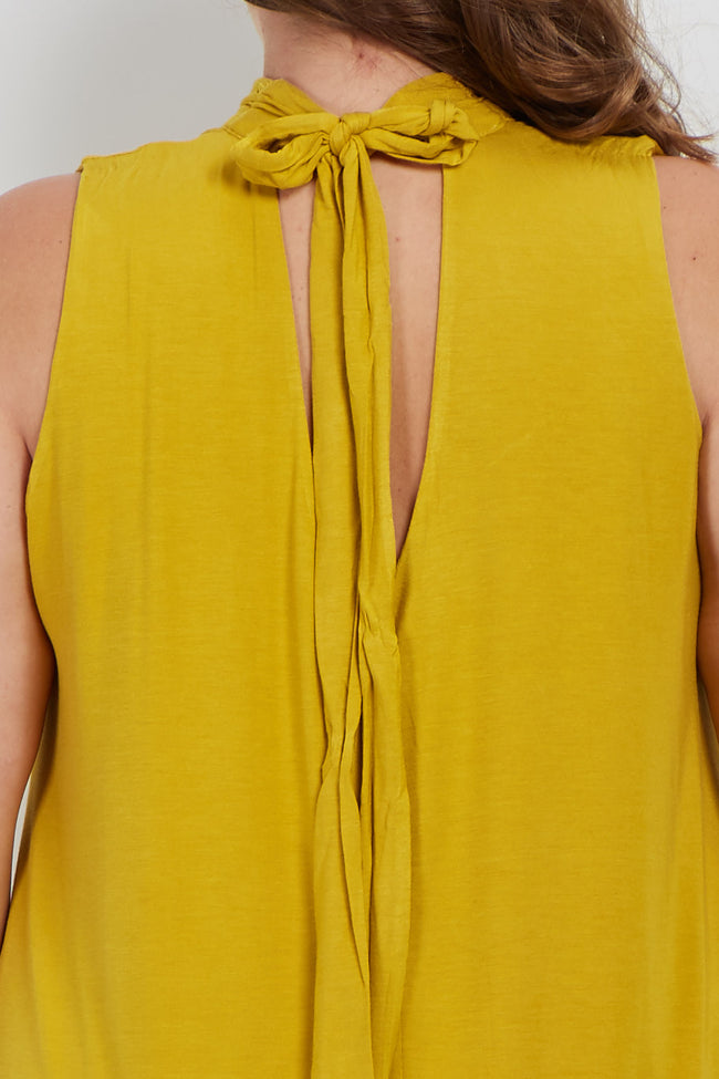 Yellow Crochet Trim Tie Sleeveless Plus Maternity Dress/Tunic