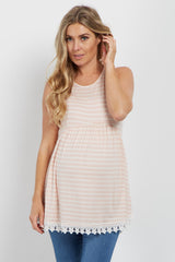 PinkBlush Pink Striped Crochet Trim Maternity Tank Top