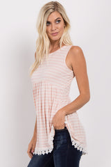 PinkBlush Pink Striped Crochet Trim Tank Top
