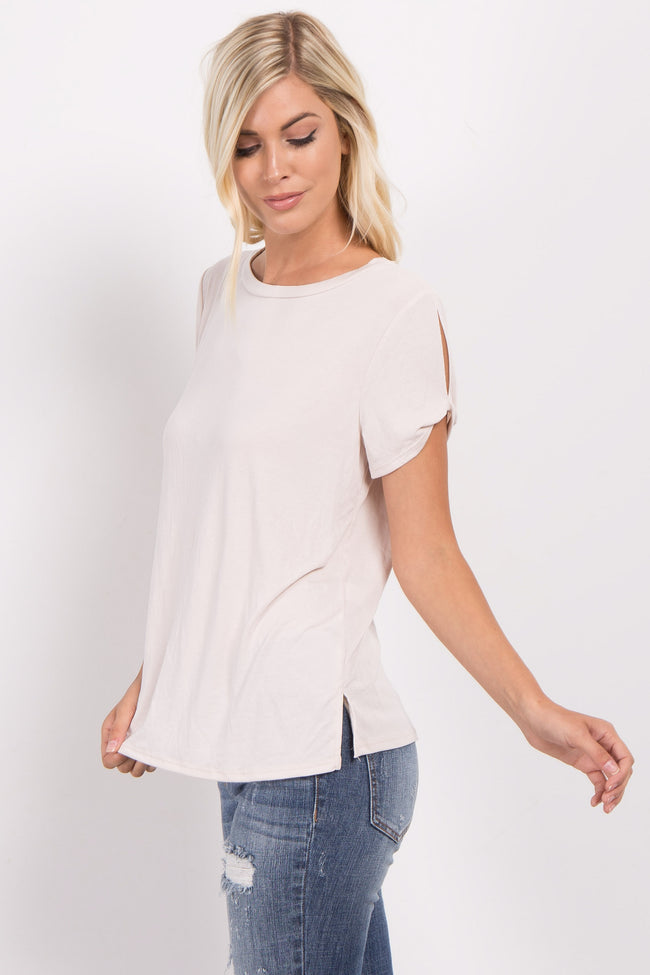 Ivory Solid Twist Open Sleeve Top