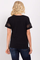 Black Crochet Sleeve Top