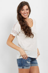 Ivory Crochet Sleeve Top