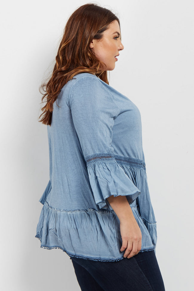 Blue Faded Crochet Trim Plus Cover Up