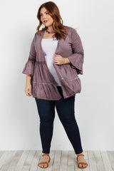 Purple Faded Crochet Trim Plus Kimono