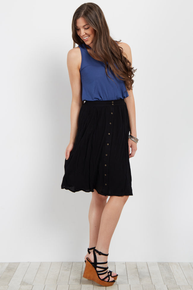 Black Solid Button Down Skirt