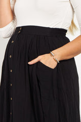 Black Solid Button Down Maternity Skirt