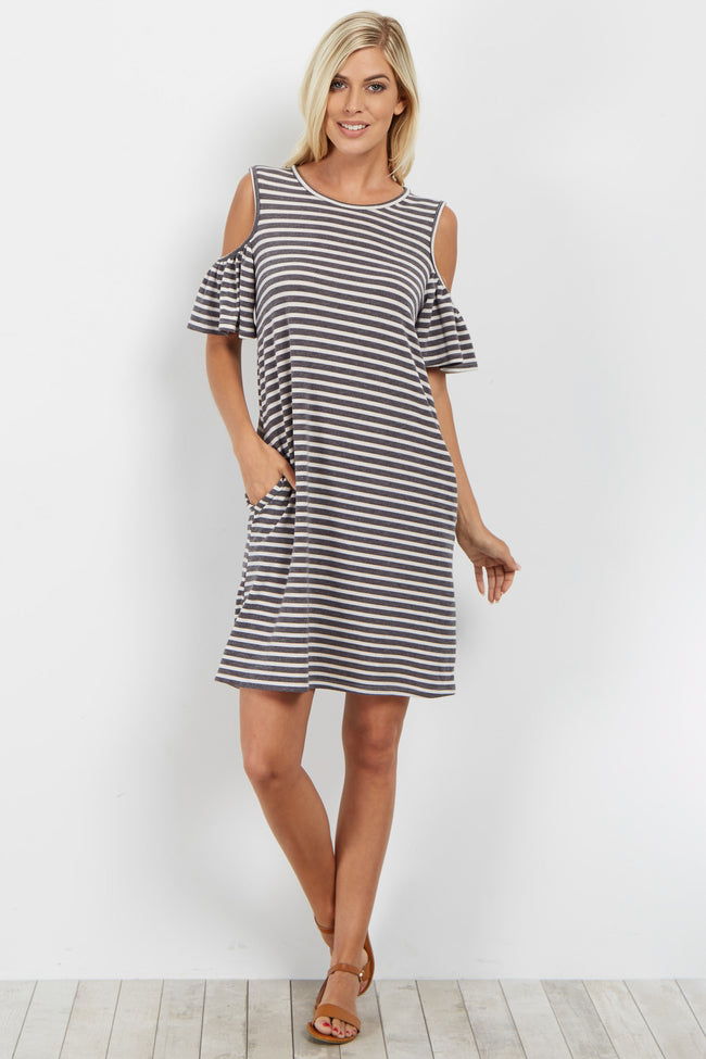 Charcoal Striped Cold Shoulder Knit Dress