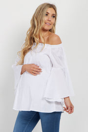 White Off Shoulder Bell Sleeve Maternity Blouse