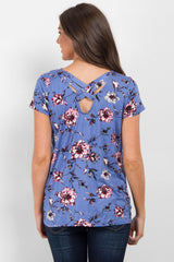 Blue Floral Weave Back Top